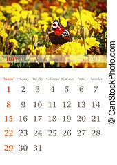 calendar 2012, July