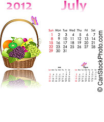 calendar 2012 with baskets
