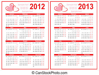 Calendar 2012 with red heart