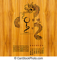 Calendar 2012, year of dragon , January