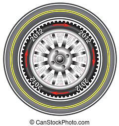 Calendar 2012 year  wheel car.
