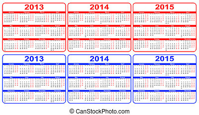 calendar 2013-2015, vector - calendar 2013-2015 red, blue,...