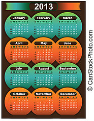 Illustration vector background eps 10, calendar 2013