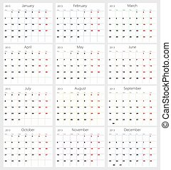 Calendar 2013 on white background
