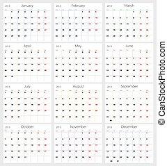 Calendar 2013 on white background