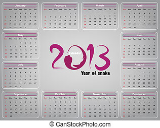 Calendar 2013 - Year of the Snake