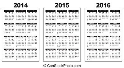calendar 2014-2015-2016 - illustration of a basic overview...