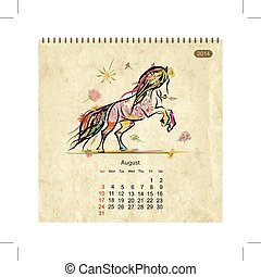Calendar 2014, august. Art horses for your design
