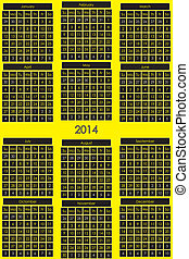CALENDAR 2014 black background for day on yellow general...