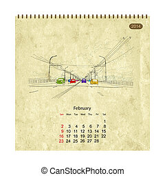 Calendar 2014, february. Streets of the city, sketch for your design