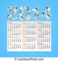Calendar 2014 in a flat style. Vector