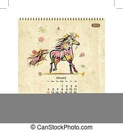 Calendar 2014, january. Art horses for your design