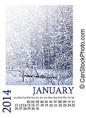 Calendar 2014. January. Winter landscape.