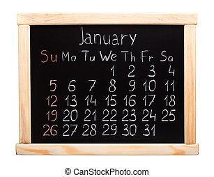 Calendar 2014. January. Written on a blackboard