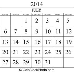 Calendar 2014 July