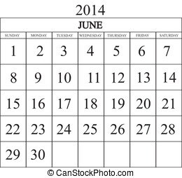 Calendar 2014 june