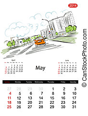 Calendar 2014, may. Streets of the city, sketch for your design