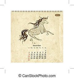 Calendar 2014, november. Art horses for your design