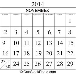 Calendar 2014 November