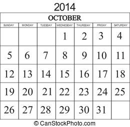 Calendar 2014 October