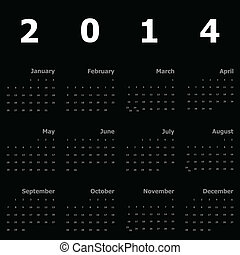 Calendar 2014 on black background