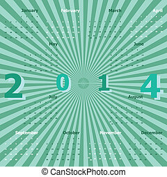 Calendar 2014 on green rays background