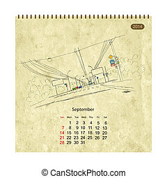 Calendar 2014, september. Streets of the city, sketch for your design