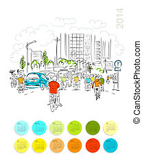 Calendar 2014. Sketch of traffic road in asian city with...