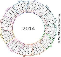 Calendar 2014 - Round calendar 2014