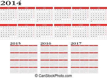Calendar 2014 to 2017 - Illustration calendar 2014 to 2017...