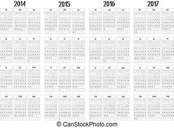 Calendar 2014 to 2017