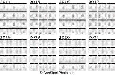 Calendar 2014 to 2021