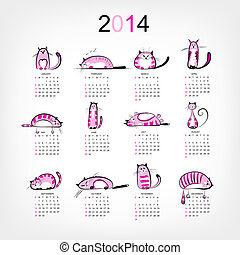 Calendar 2014 with 12 funny pink cats