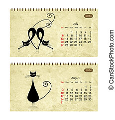 Calendar 2014 with black cats on grunge paper. July and august