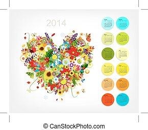 Calendar 2014 with four season heart for your design