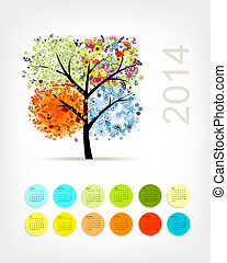 Calendar 2014 with four season tree for your design