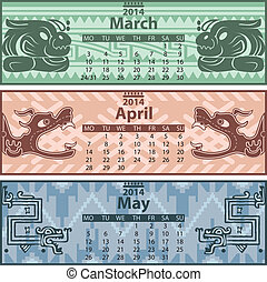 Calendar 2014 with mayan ornaments