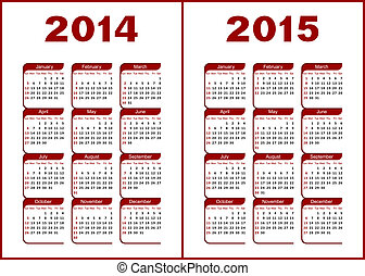 Calendar for 2014,2015. Red and black letters and figures on a white background.