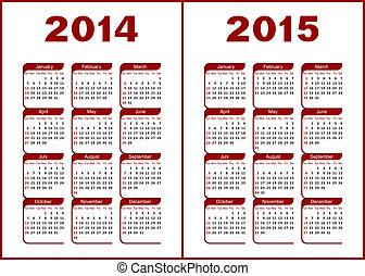 Calendar 2014,2015 - Calendar for 2014,2015. Red and black...