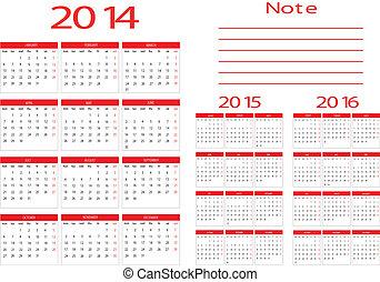 Calendar 2014,2015,2016