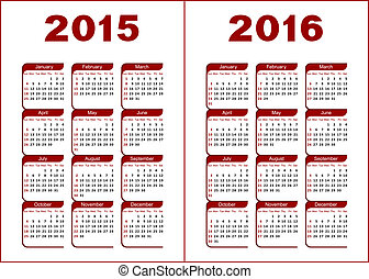 Calendar for 2015, 2016. Red and black letters and figures on a white background.