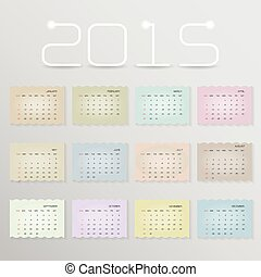Calendar 2015 design template week starts Sunday.