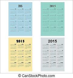 Calendar 2015 design template week starts Sunday.