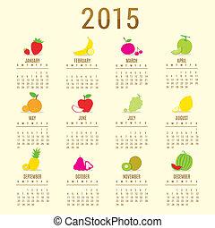 Calendar 2015 Fruit Cute Cartoon Vector