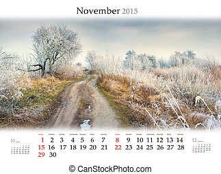 Calendar 2015. November. Beautiful autumn landscape in the fores