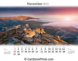 Calendar 2015. November. Beautiful autumn landscape in the mount