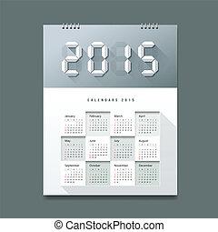 Calendar 2015 Number paper digital design, vector...