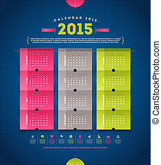 Calendar 2015  - template vector design with paper elements