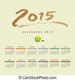 Calendar 2015 text paint brush