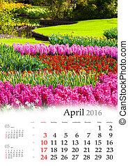 Calendar 2016. April.